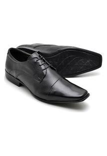 Sapato Social Masculino Em Couro Texturizado Reta Oposta Preto