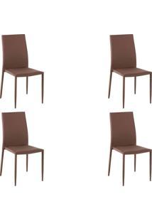 Kit 4 Cadeiras Decorativas Sala E Cozinha Karma Poliã©Ster Cafã© - Gran Belo - Cafã© - Dafiti
