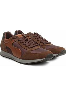 217453f5935 Tênis Couro Shoestock Jogging Recortes Masculino - Masculino-Caramelo