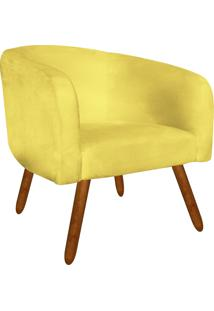 Poltrona Decorativa Stella Suede Amarelo Pés Palito - D'Rossi
