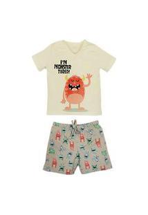 Pijama Infantil Monster Grow Up Menino Dreams Grow Up Branco