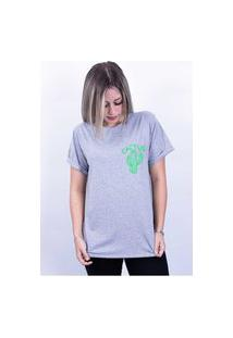 Camiseta Bilhan Corte A Fio Cactus Pqn Cinza