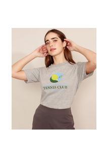 "T-Shirt Tennis Club"" Manga Curta Decote Redondo Mindset Cinza Mescla"""