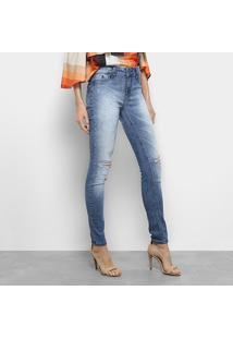 Calça Jeans Skinny Forum Raquel Estonada Rasgos Cintura Média Feminina - Feminino-Azul
