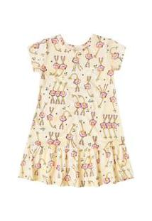 Camisola Manga Curta Bebê Quimby - Feminino-Amarelo