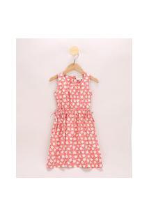 Vestido Infantil Estampado Floral Com Vazado Sem Manga Coral