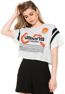 Camiseta Cropped Lez A Lez Estampada Off-White