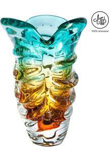 Vaso Texturizado- Verde Água & Âmbar- 42Xø24Cm- Cristais São Marcos