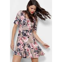 1f4305978 Vestido Lança Perfume Evasê Curto Floral - Feminino-Bege+Rosa