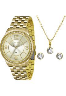 Kit De Relógio Analógico Lince Feminino + Brinco + Colar - Lrg4340L Kt05C2Kx Dourado