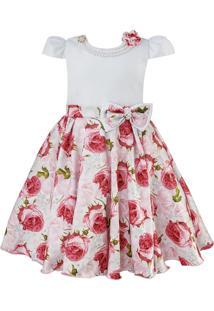 Vestido Infantil De Festa Libelinha Com Saia Estampada Rosas - Vermelho