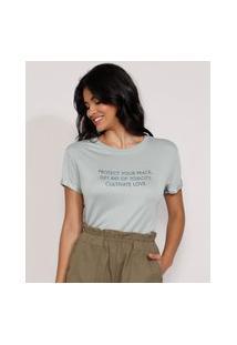 "Camiseta Feminina Manga Curta ""Cultivate Love"" Com Relevo Longa Decote Redondo Verde"