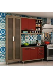 Cozinha Compacta New Vitoria I 6 Pt 3 Gv Avelã Com Rubi