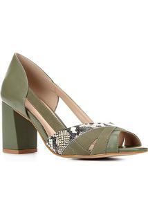 Peep Toe Couro Shoestock Mix Materiais Salto Médio - Feminino-Verde