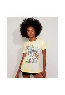 Camiseta Feminina Tom E Jerry Estampada Tie Dye Manga Curta Decote Redondo Amarela