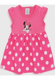 Vestido Brandili Infantil Minnie Rosa