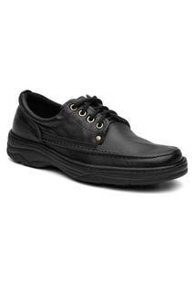 Sapato Masculino Em Couro Super Confortável Com Cadarço - Preto 2020