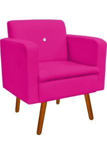 Poltrona Decorativa Emília Suede Pink Com Strass - D'Rossi