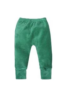 Calça De Bebê Básico Verde Escuro Plush Pé Reversível Verde Escuro
