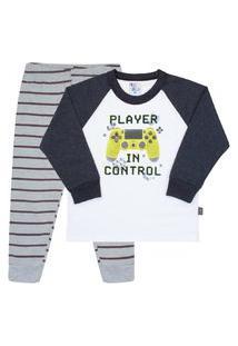 Conjunto Pijama Branco - Primeiros Passos - Menino 1 45121-3 Conjunto Pijama Branco - Primeiros Passos Menino Meia Malha Ref:45121-3-2