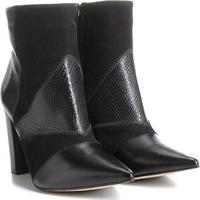 53455878f Bota Couro Cano Curto Shoestock Patchwork Feminina - Feminino-Preto