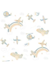 Papel De Parede Coleção Bambinos Azul Branco Aviões 3310 Bobinex