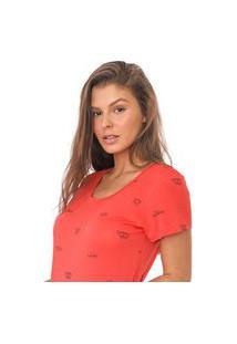 Camiseta Polo Wear Reta Lettering Laranja/Preto