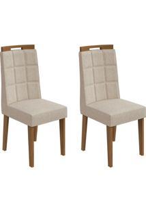 Conjunto De Cadeiras De Jantar 2 Nevada Veludo Rovere E Creme