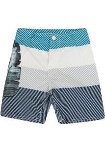 Bermuda Surf Infantil 1Mais1 Listrada Masculina - Masculino-Azul