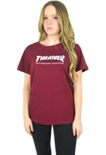 Camiseta Thrasher Magazine Skate Mag Bordô