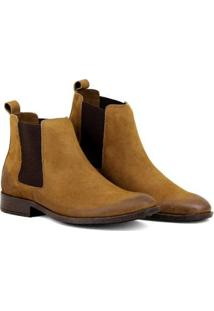 Bota Chelsea Masculina Linha Urban Boots Em Couro Camurça - Masculino-Caramelo