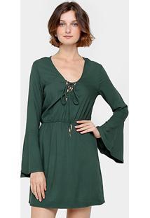 Vestido Colcci Manga Longa Babado Elástico Cintura - Feminino
