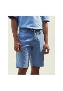 Bermuda Em Sarja Com Amarração E Barra Dobrada | Blue Steel | Azul | 48