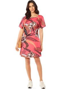 T-Shirt Morena Rosa Dress Detalhe Decote Rosa