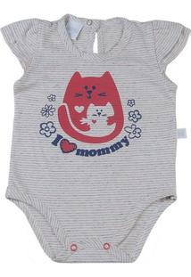 Body Bebê Malha Listrada I Love Mommy - Feminino-Marinho