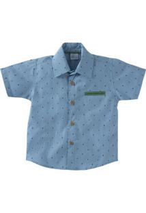 Camisa Azul Ancora Manga Curta Gijo Baby