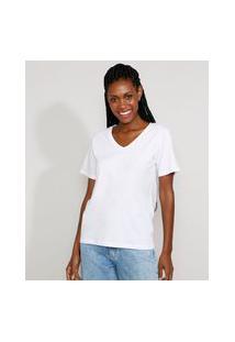 T-Shirt Feminina Mindset Básica Ampla Manga Curta Decote V Branca