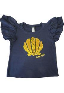 Camiseta Gira Baby Kids Infantil Bordado Concha Azul-Mainho