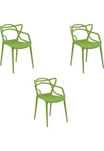 Kit 3 Cadeiras Decorativas Sala E Cozinha Feliti (Pp) Verde - Gran Belo - Verde - Dafiti