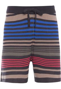 Bermuda Masculina Tricot Double Mixed Stripes - Preto