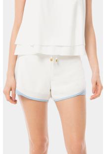 Shorts Cintura Alta Recorte Branco Off White - Lez A Lez