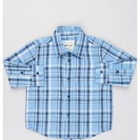 09ece9038 Camisa Infantil Estampada Xadrez Com Bolso Manga Longa Azul Claro