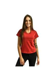 Camiseta Nakia Gola V Básica Feminina Lisa Malha Manga Curta Vermelha