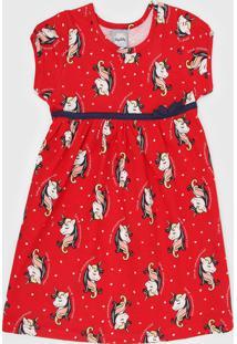 Vestido Romitex Infantil Unicórnio Vermelho/Azul-Marinho
