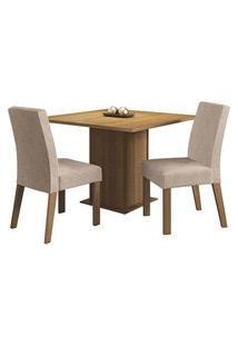 Conjunto Sala De Jantar Madesa Tai Mesa Tampo De Madeira Com 2 Cadeiras Rustic/Imperial Rustic