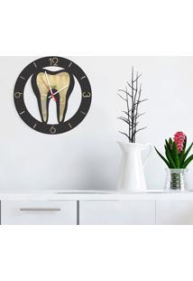 Relógio De Parede Decorativo Premium Odontologia Preto Com Relevo Espelhado Médio