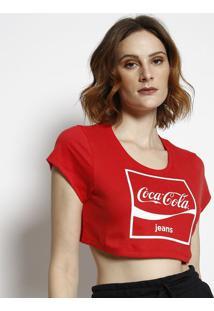 """Camiseta Cropped """"Coca-Colaâ®""""- Vermelha & Branca- Cococa-Cola"""