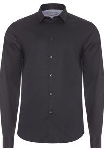 Camisa Masculina Extra Slim Simples - Preto