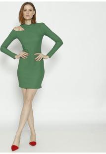 Vestido Canelado Com Recorte- Verde- Colccicolcci