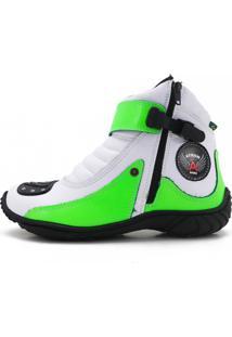 Bota Atron Shoes Motociclista 271 Branco E Verde